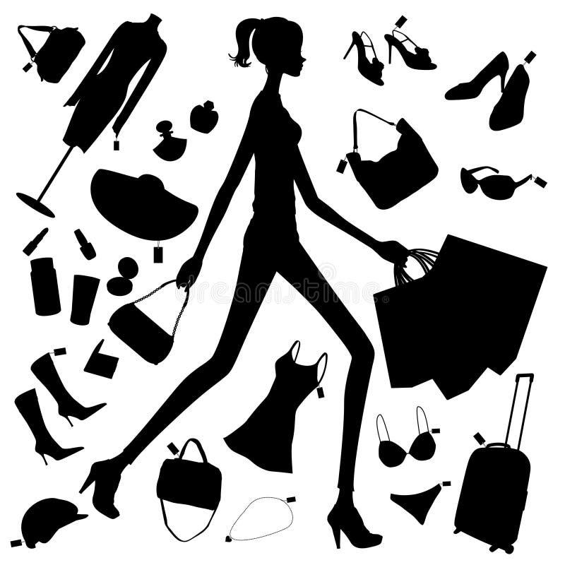 Einkaufsmädchenschattenbild vektor abbildung