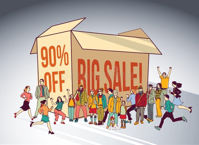 Einkaufsrabatt der Verkaufskastengruppen-Leute lassen glückliches Zeichen laufen stock abbildung