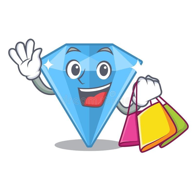 Einkaufssaphiredelsteine in der Karikaturform lizenzfreie abbildung