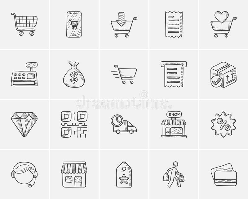 Einkaufsskizzen-Ikonensatz lizenzfreie abbildung