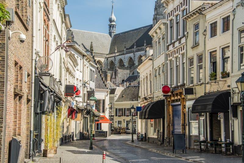 Einkaufsstraße in der Mitte der Stadt von Breda Niederländisches Holland stockbilder