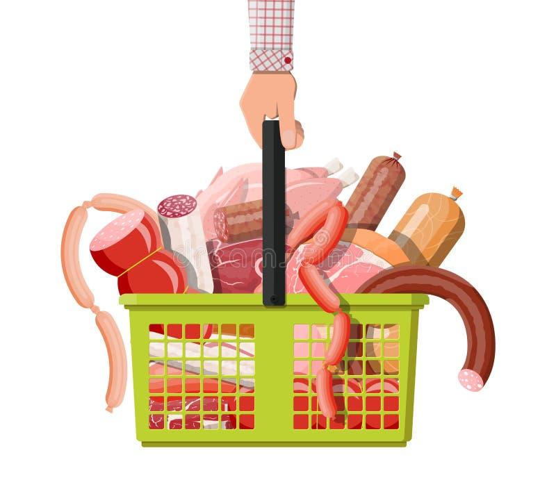 Einkaufssupermarktkorb voll des Fleisches stock abbildung