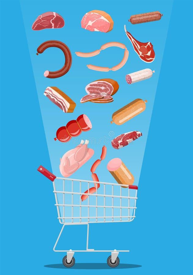 Einkaufssupermarktkorb voll des Fleisches vektor abbildung