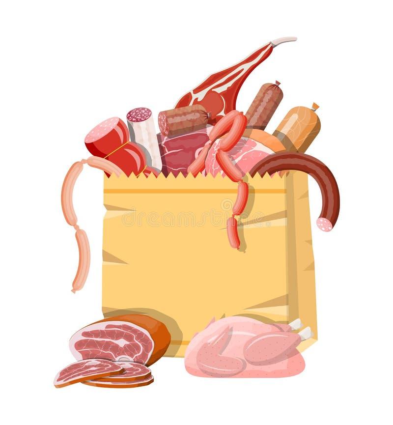 Einkaufssupermarkttasche voll des Fleisches lizenzfreie abbildung