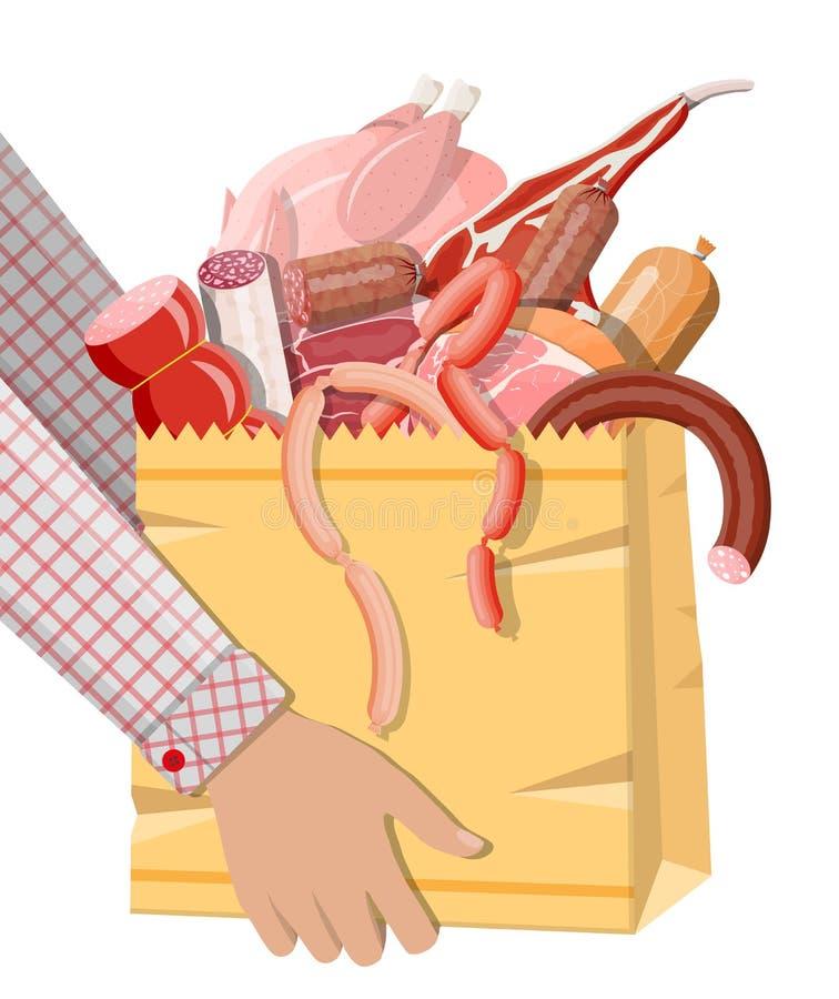 Einkaufssupermarkttasche voll des Fleisches vektor abbildung