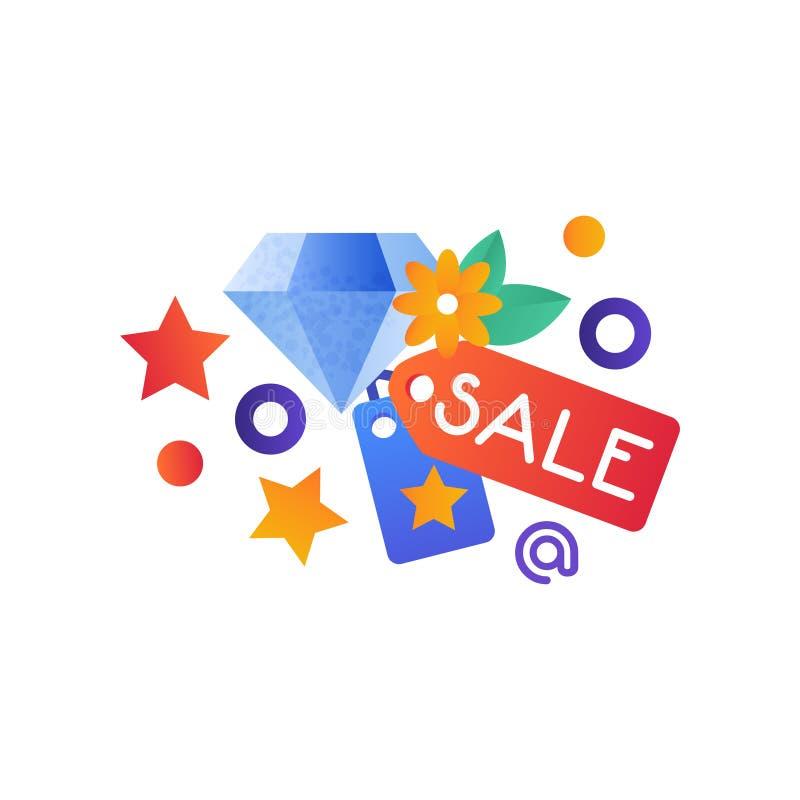 Einkaufssymbole, Schmuckverkauf, Internet-Einkaufen, E-Commerce-Konzept-Vektor Illustration auf einem weißen Hintergrund vektor abbildung