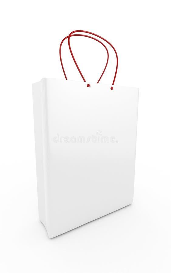 Einkaufstasche 3d (rechte Perspektiven-Ansicht) - lokalisiert lizenzfreie stockfotografie