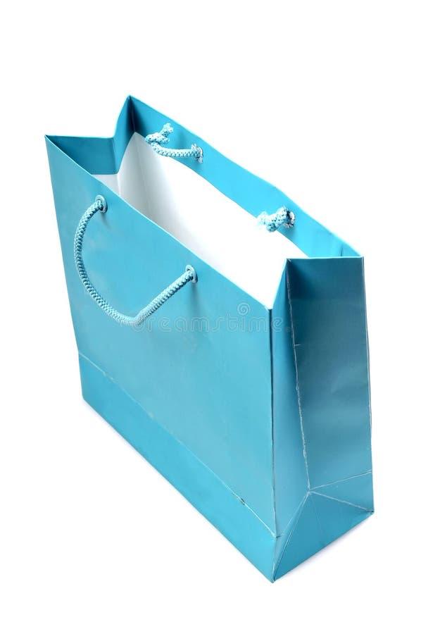 Einkaufstasche des blauen Papiers stockbild