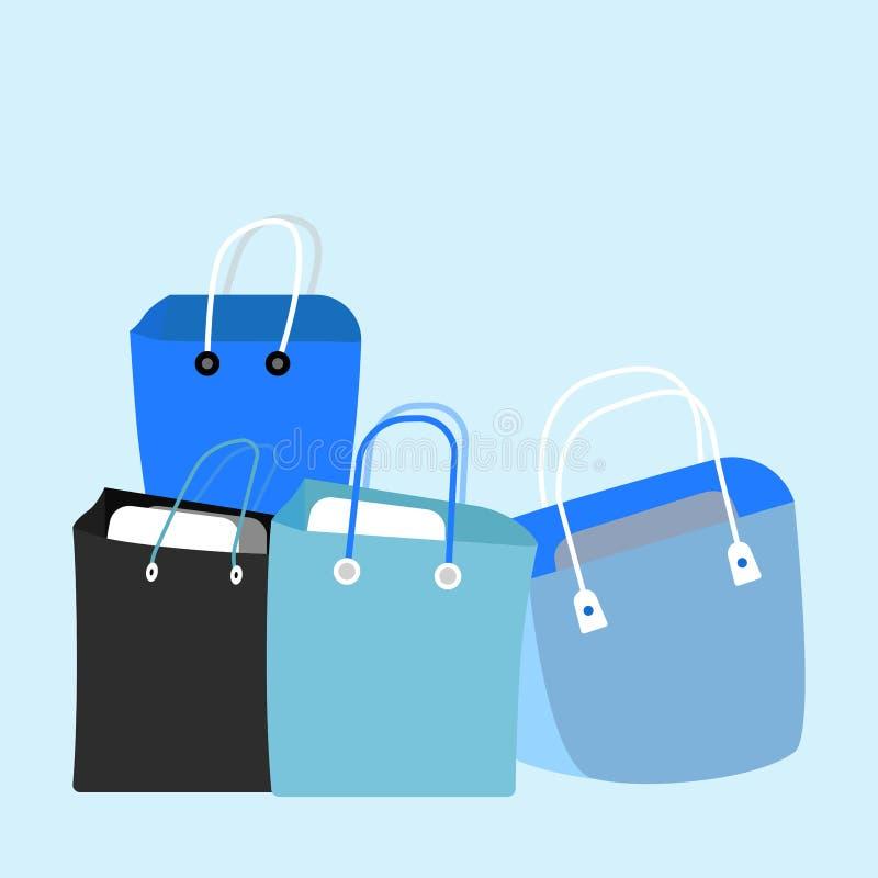 Einkaufstasche lokalisiert auf Hintergrund Tapezieren Sie Paket Geschenk, Geschenk, Verkaufskonzept Vektorkarikaturdesign stock abbildung