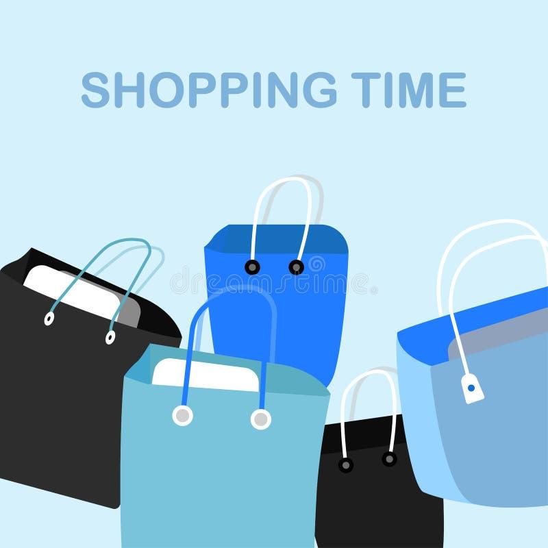 Einkaufstasche lokalisiert auf Hintergrund Tapezieren Sie Paket Geschenk, Geschenk, Verkaufskonzept Vektorkarikaturdesign lizenzfreie abbildung