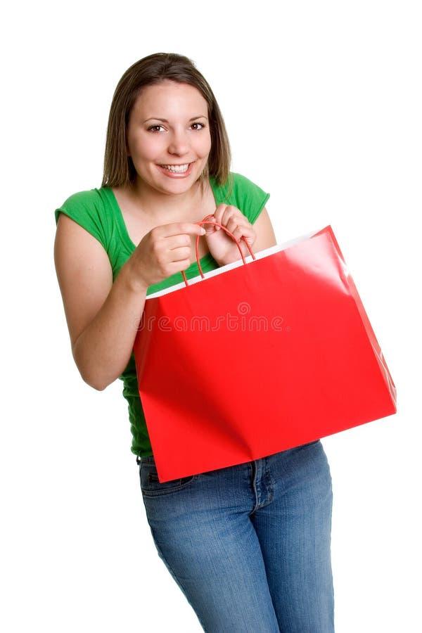 Einkaufstasche-Mädchen stockfoto