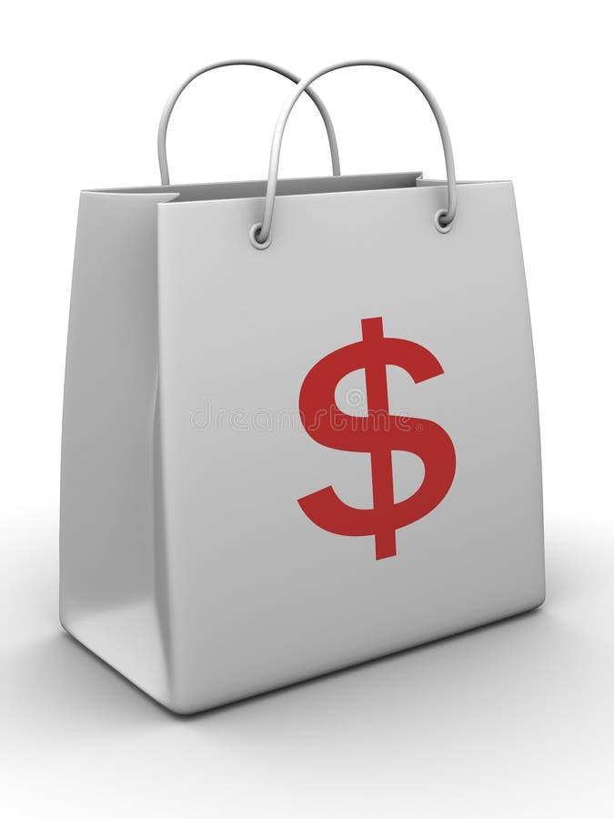 Einkaufstasche mit Dollar lizenzfreie abbildung