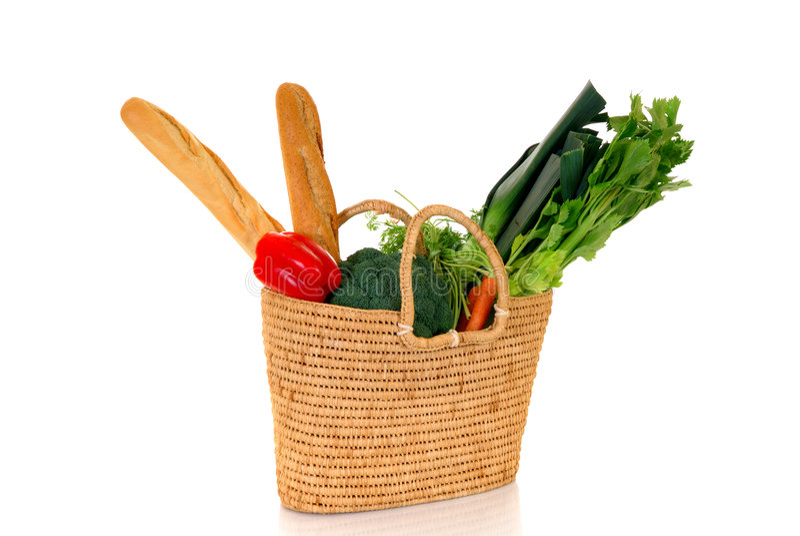 Einkaufstasche mit Gemüse lizenzfreie stockfotos