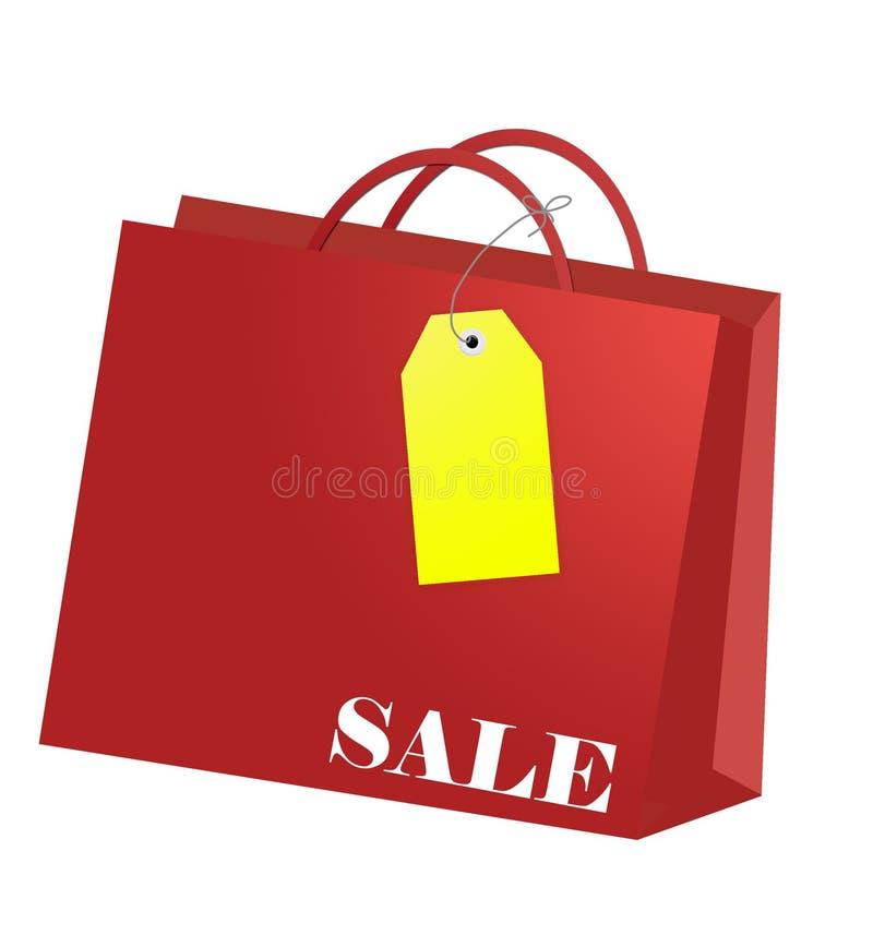 Einkaufstasche mit Marke während jeder Einkaufenjahreszeit stock abbildung