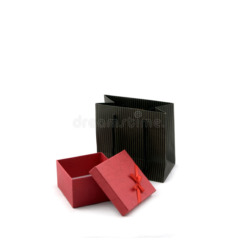 Einkaufstasche und Geschenk-Kasten stockfotografie