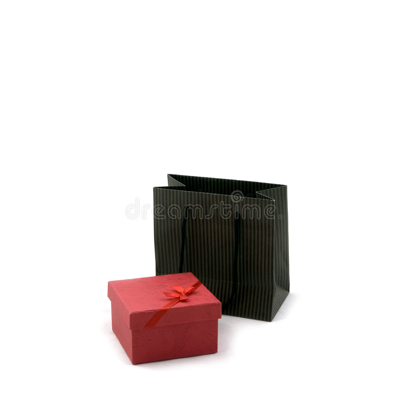 Einkaufstasche und Geschenk-Kasten lizenzfreie stockfotos