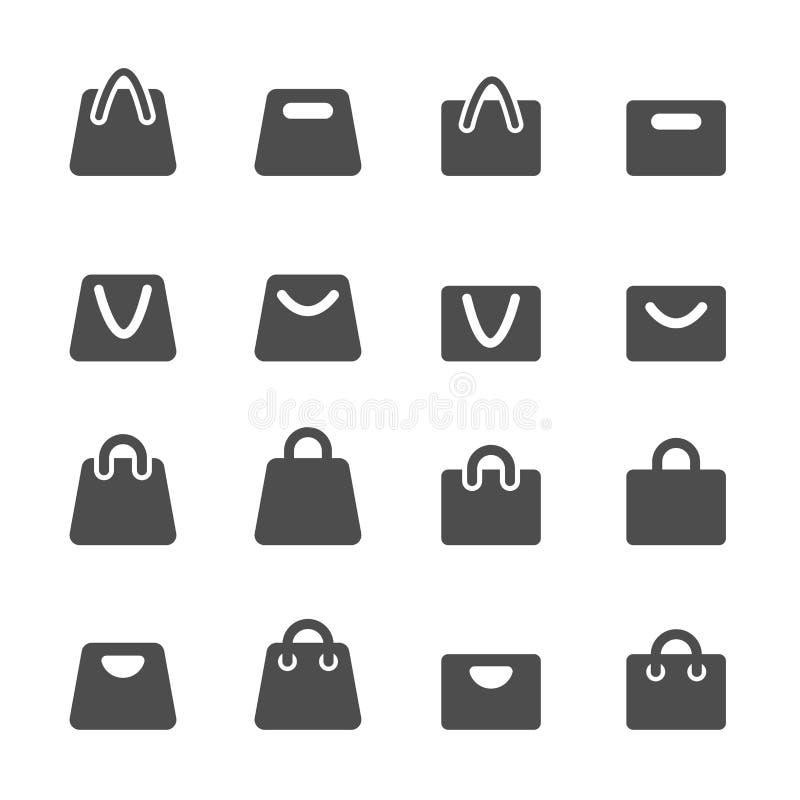 Einkaufstascheikonensatz, Vektor eps10 lizenzfreie abbildung
