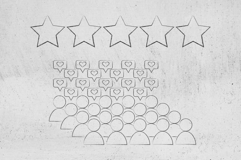 Einkaufstaschen mit Fünf-Sternebewertung über ihnen lizenzfreie abbildung