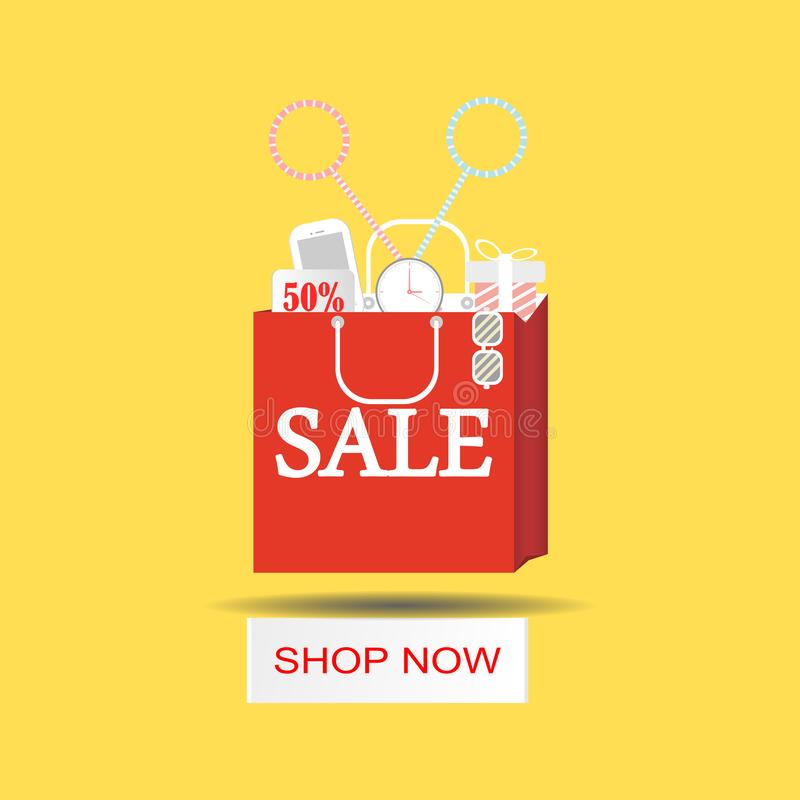 Einkaufstaschepapierschnitt bunt für Plakat Verkaufs- und Entwurfsebene Auch im corel abgehobenen Betrag stock abbildung