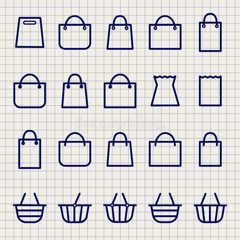Einkaufstascheskizzenikonen eingestellt stock abbildung