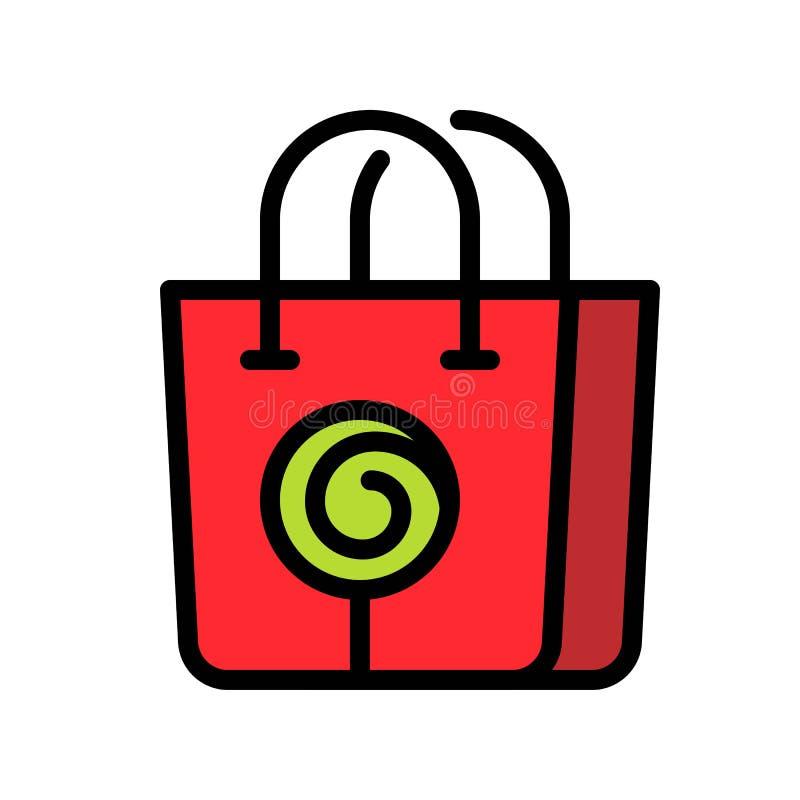 Einkaufstaschevektorillustration, füllte editable Entwurf der Artikone stock abbildung