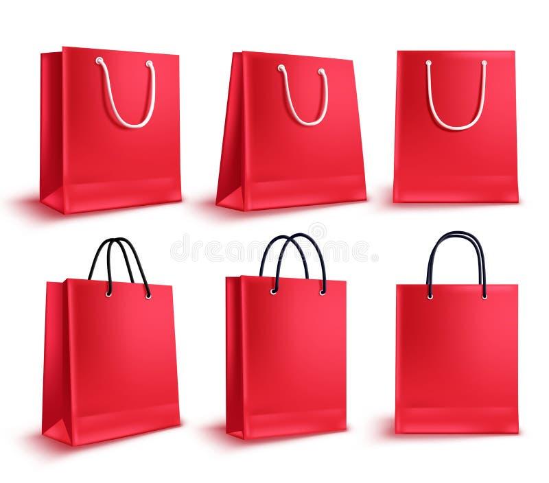 Einkaufstaschevektorsatz Leere Papiertütesammlung des roten Verkaufs vektor abbildung