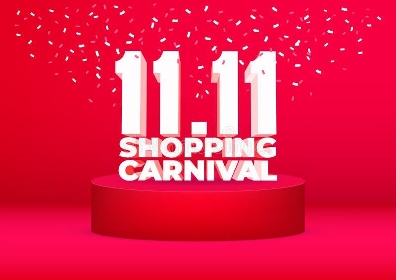 11 Einkaufsverkaufsplakat- oder -fliegerentwurf des karnevals 11 Globaler Einkaufswelttagverkauf auf rotem Hintergrund 11 11 verr vektor abbildung