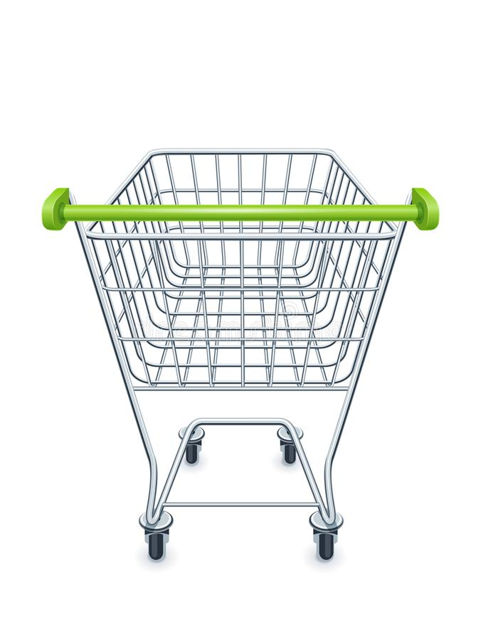 Einkaufswagen für Supermarktprodukte lizenzfreie abbildung