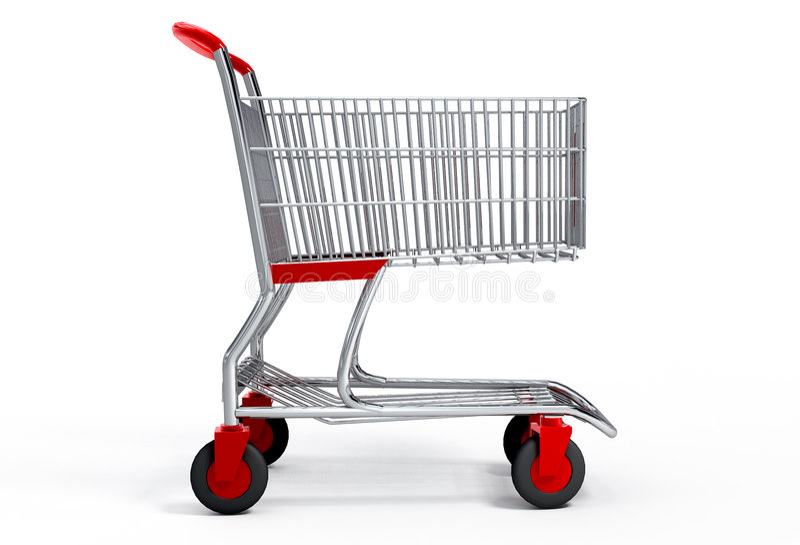 Einkaufswagen mit Ausschnittspfad stock abbildung