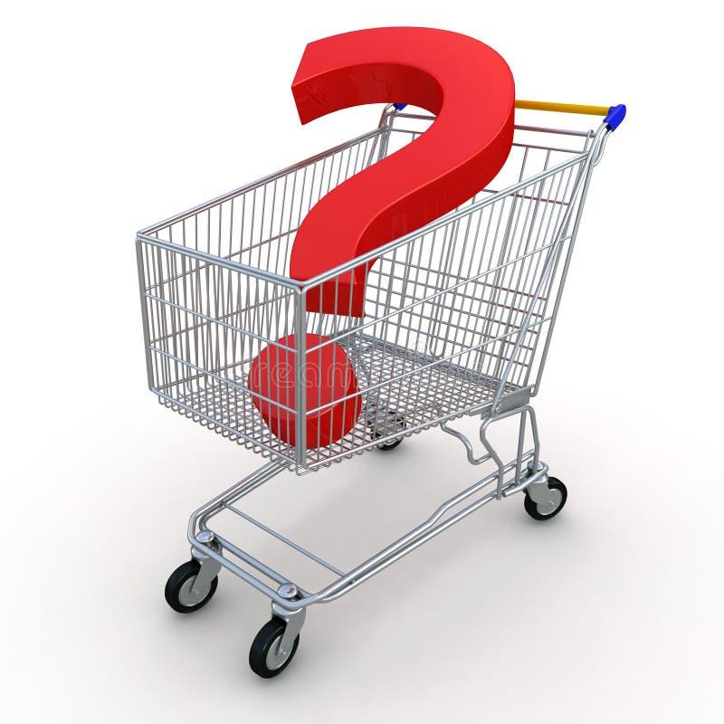 Einkaufswagen mit Frage vektor abbildung