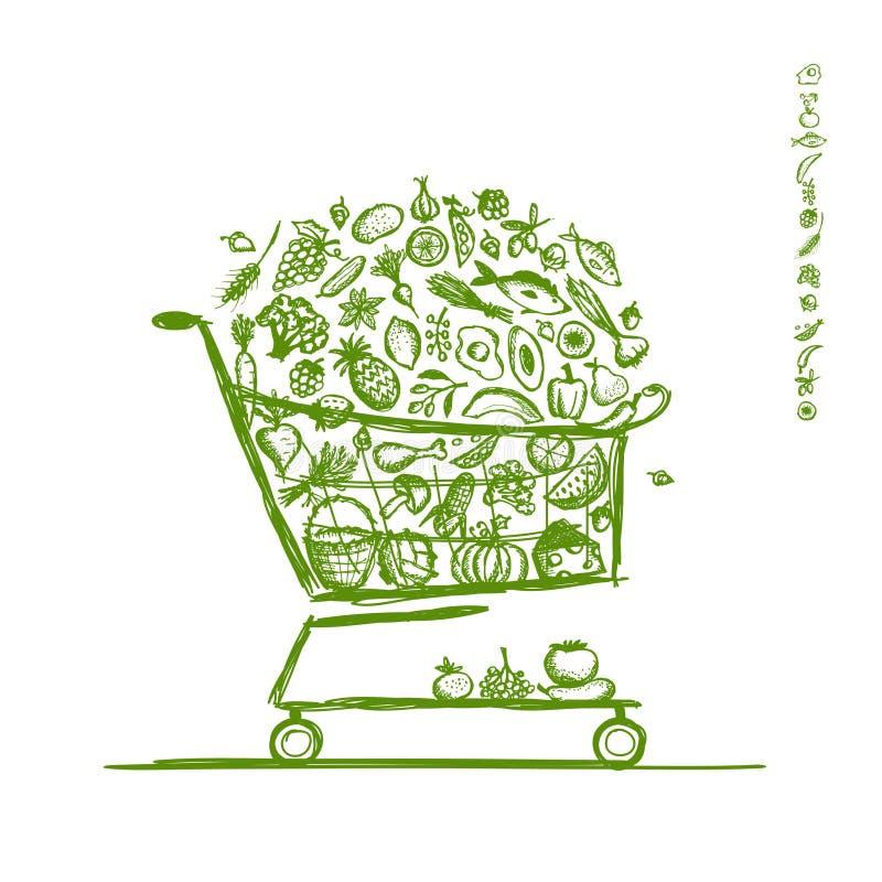 Einkaufswagen mit gesunder Nahrung für Ihren Entwurf lizenzfreie abbildung