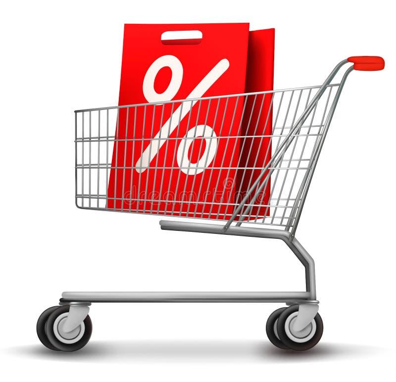 Einkaufswagen mit Verkaufs-Einkaufstasche lizenzfreie abbildung