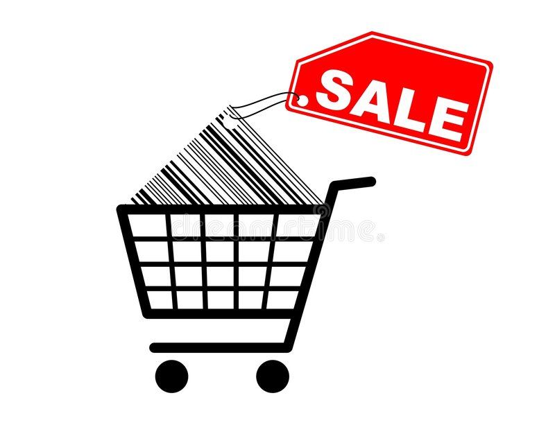Einkaufswagen mit Verkaufskennsatz auf Barcode lizenzfreie abbildung
