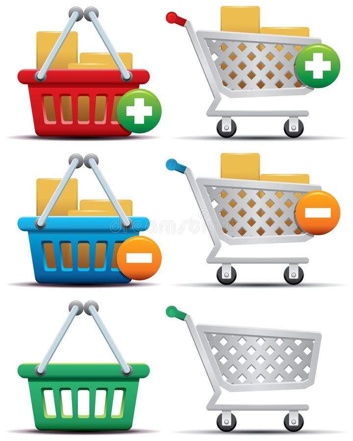 Einkaufswagen und Korb-Ikonen lizenzfreie abbildung