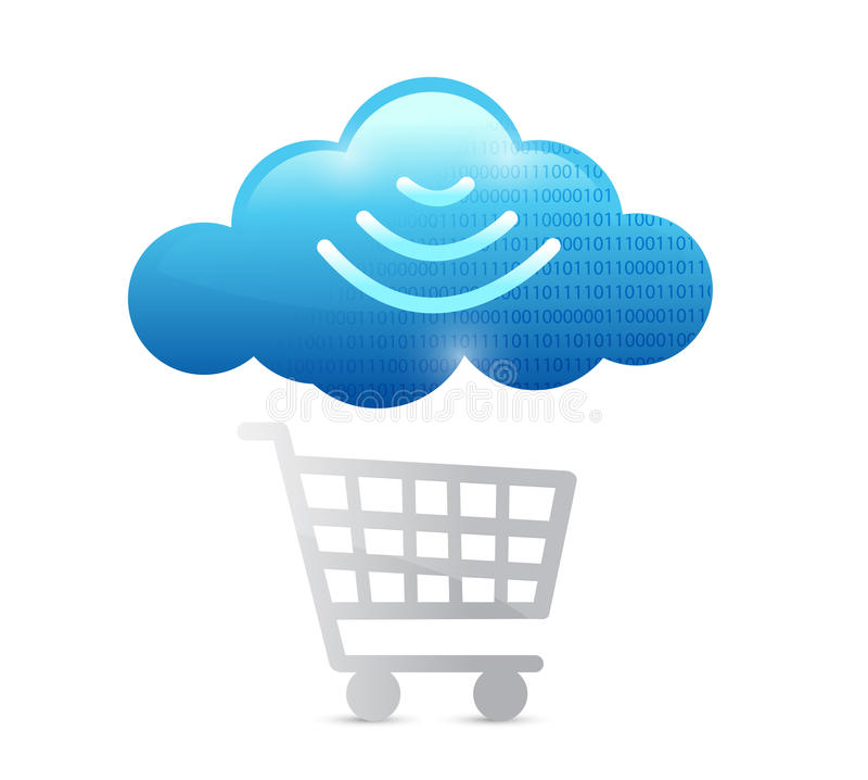 Einkaufswagen- und wifi Wolkenillustration lizenzfreie abbildung