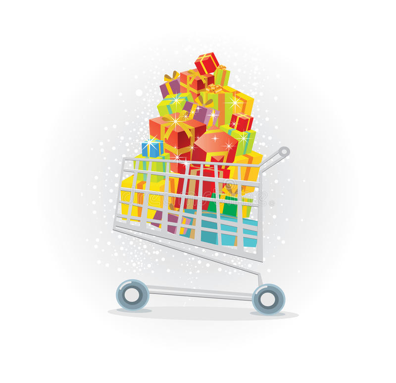 Einkaufswagen voll der Geschenke lizenzfreie abbildung