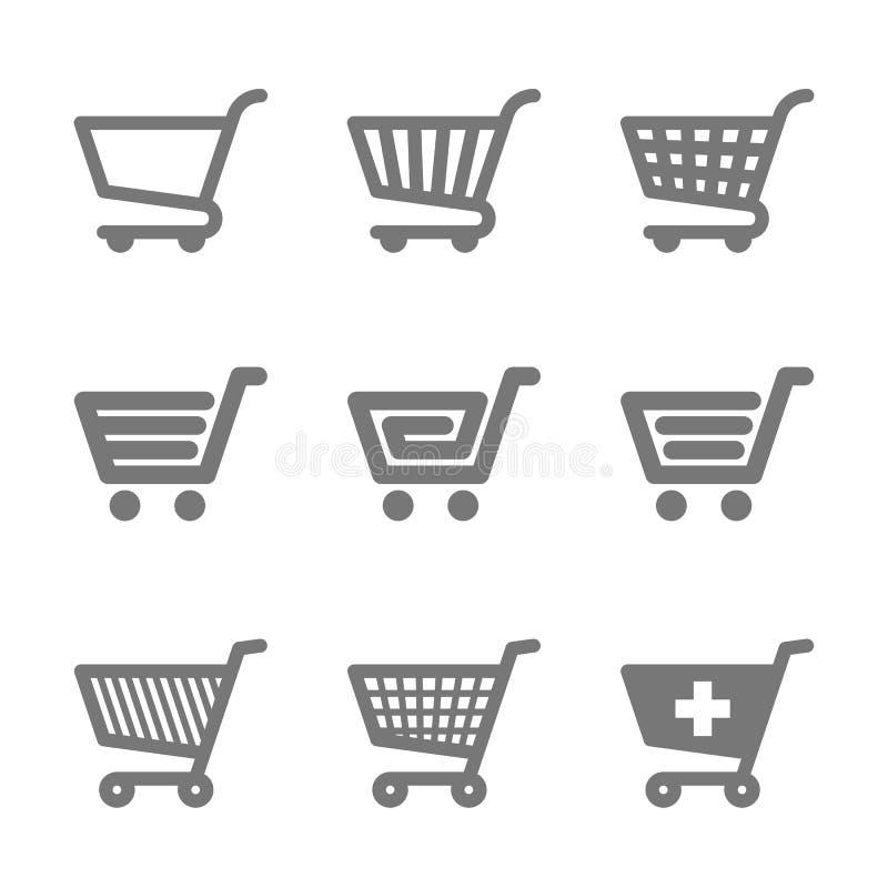 Einkaufswagenikonen lizenzfreie abbildung