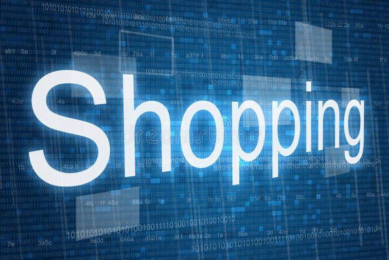 Einkaufswort auf digitalem Hintergrund lizenzfreies stockbild