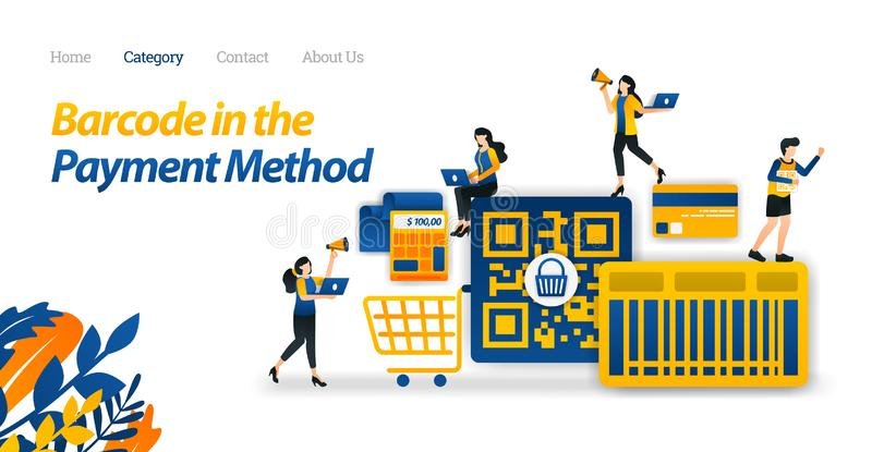 Einkaufszahlungs-Entwurf mit einer Barcode-oder QR Code-Methode, zum er einfacher zu machen für den Einkauf Vektor-Illustrations- vektor abbildung