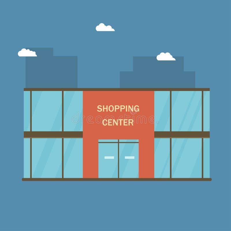 Einkaufszentrengebäude mit großen Fenstern Moll oder Supermarkt in der Stadt lizenzfreie abbildung
