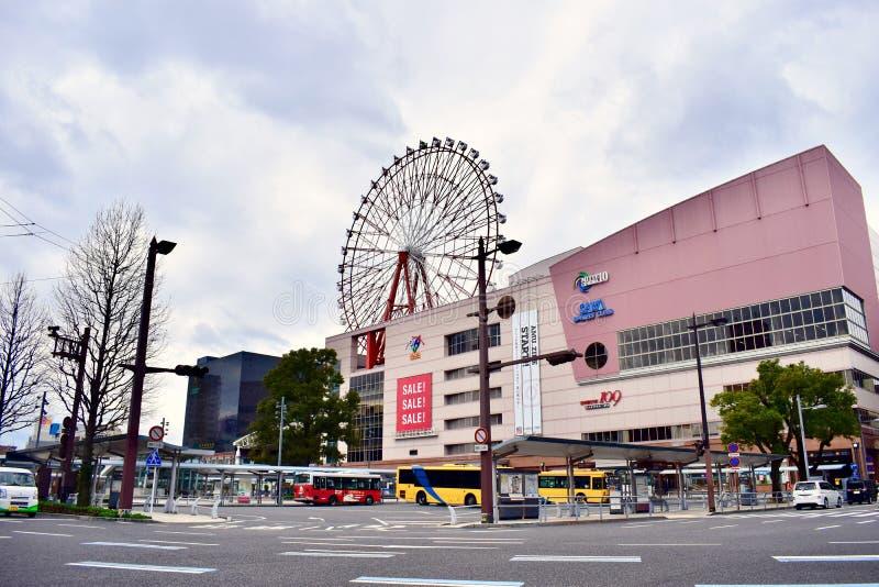 Einkaufszentrum Japans Kagoshima am bewölkten Tag stockbilder