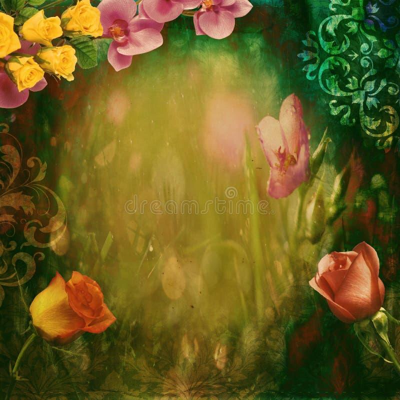 Einklebebuchblumenhintergrund stockbild