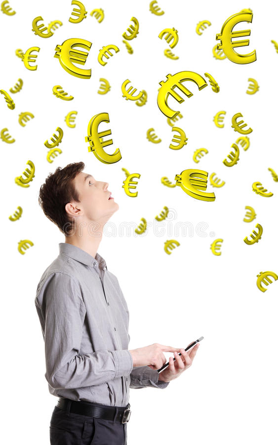 Einkommen auf Devisen- oder Internet-Konzept. stockfoto