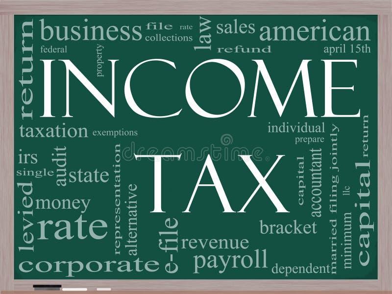 Einkommenssteuer-Wort-Wolkenkonzept auf einer Tafel lizenzfreie abbildung