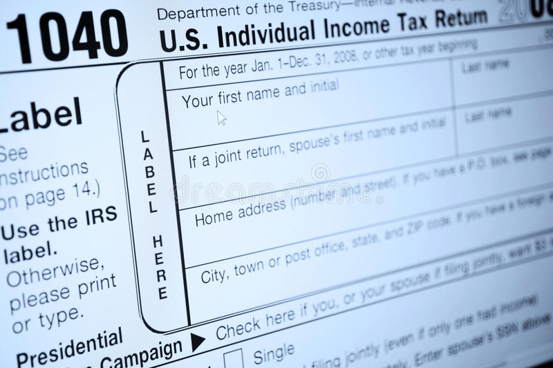Einkommenssteuerformulare stockbild