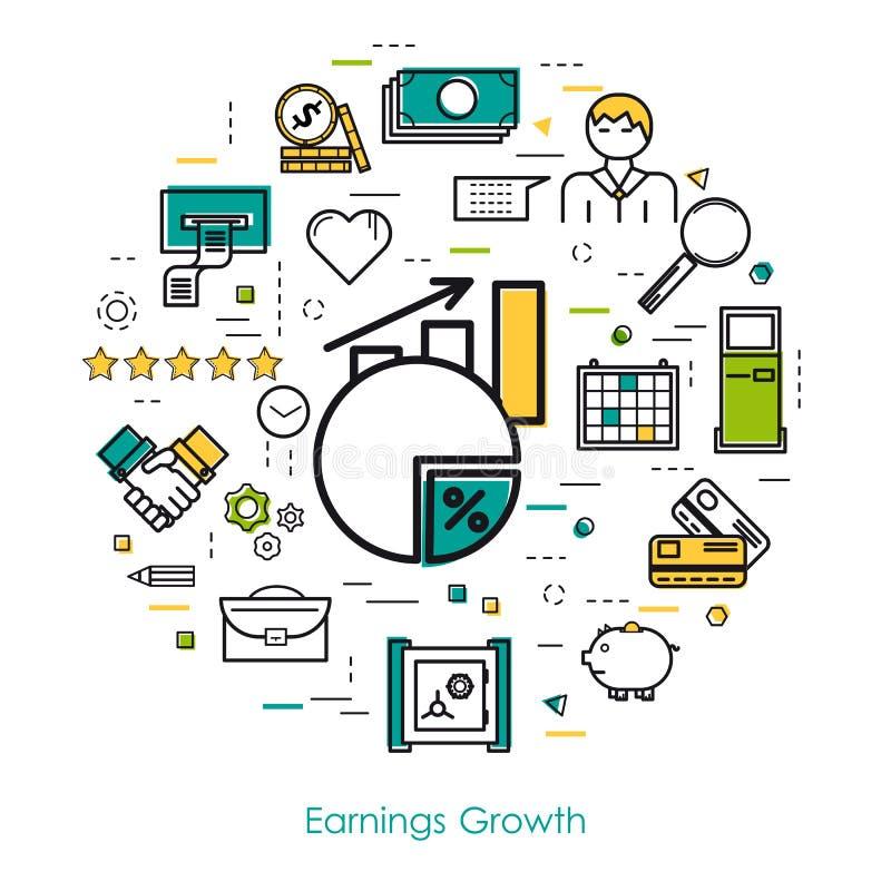 Einkommenswachstum - Linie Kunst lizenzfreie abbildung