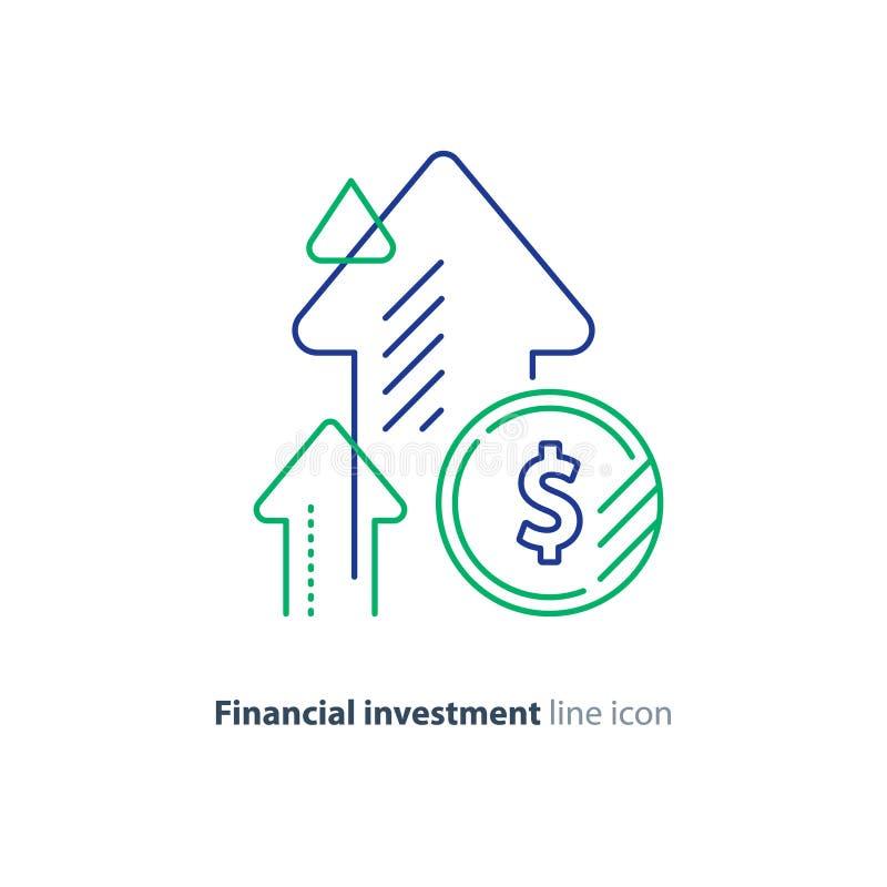Einkommenszunahme, lukrative Investition, Finanzwachstum, steigendes Kapital, Linie Ikone lizenzfreie abbildung