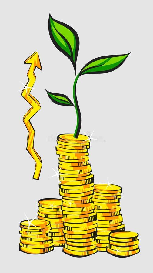 Einkommenszunahmekonzept, goldene Münzenstapel mit Geldbaum und hoher Zeiger, Retrostilvektorillustration vektor abbildung