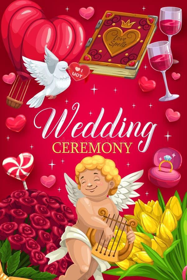 Einladung auf Hochzeitszeremonie Amor und Blumen vektor abbildung