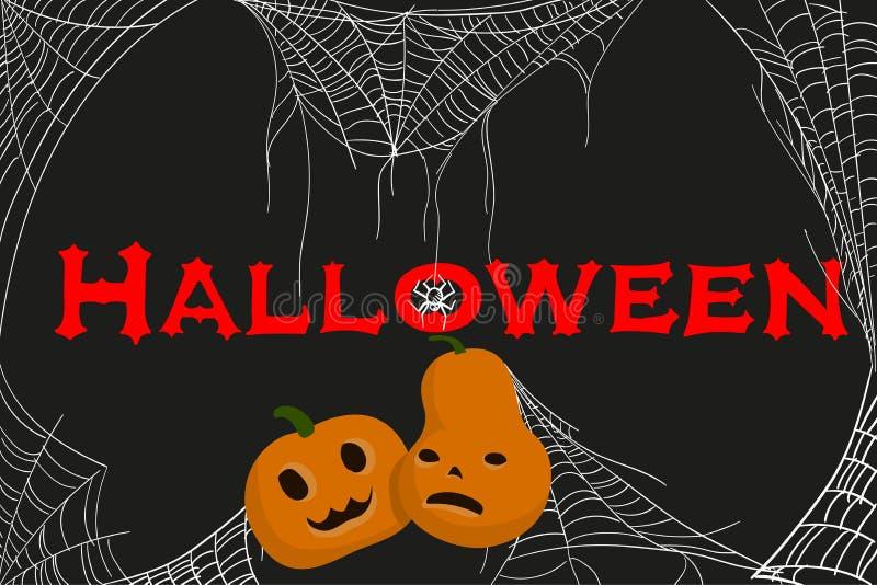 Einladung an die Halloween-Partei mit dem Schnitzen des Kürbises und der Spinnennetze Der kleine Junge unzufrieden gemacht lizenzfreie abbildung